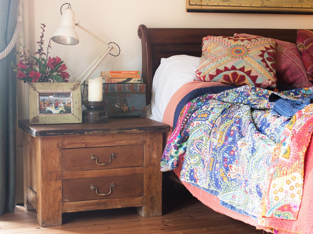 Vintage bedroom with teak jewellery-maker's workbench