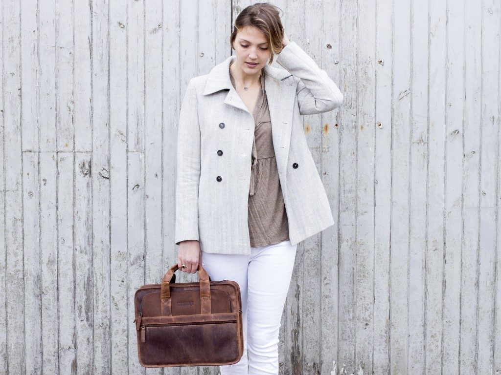 Citylander Womens Leather Laptop Briefcase