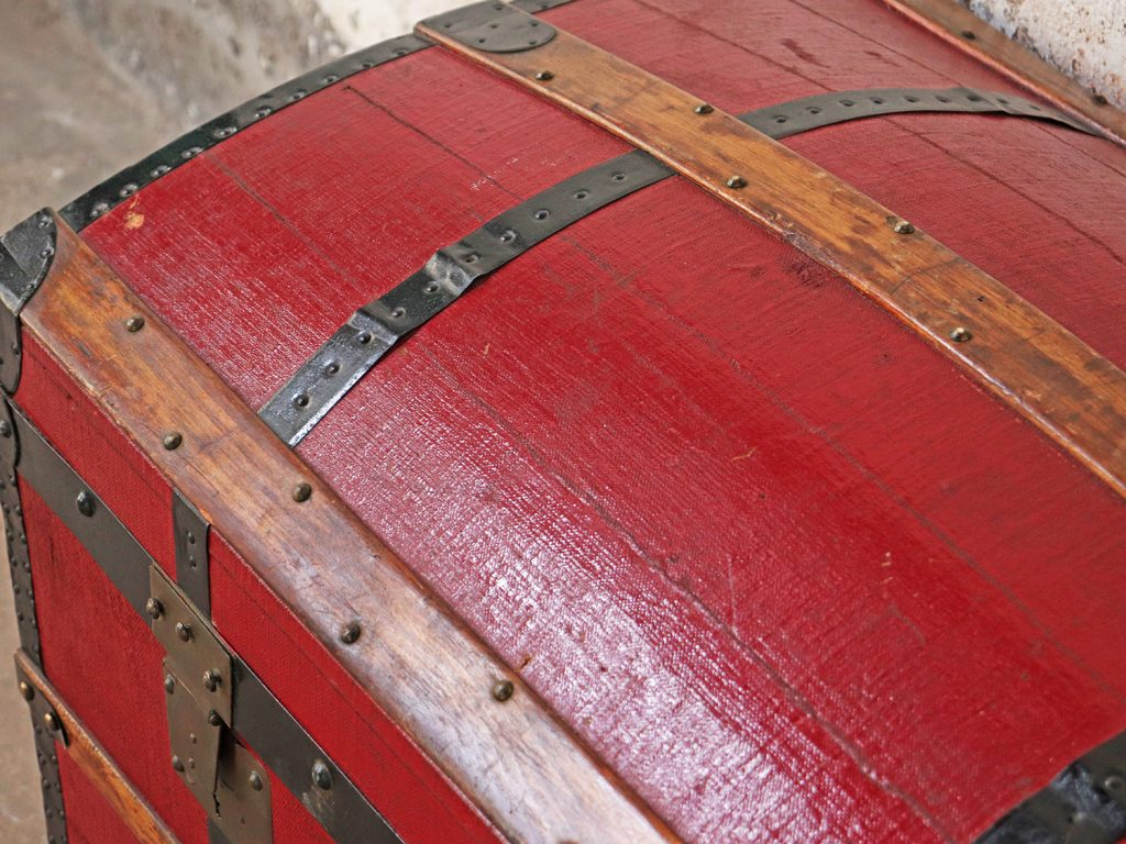 Antique red treasure chest