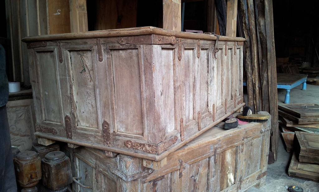 Old Pitari Chests: we will have them restored by just sanding the wood and iron work and applying a lot of wax