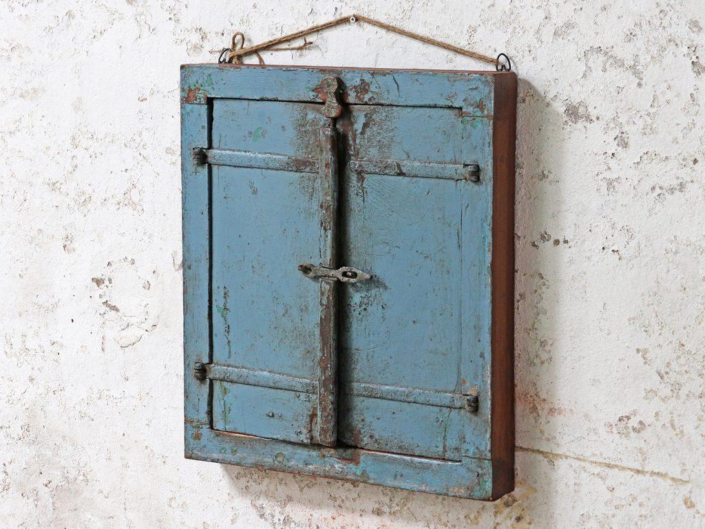 antique wooden shuttered mirror