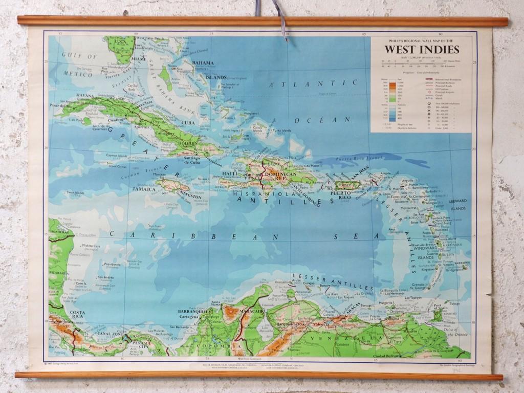 Vintage school map of West Indies