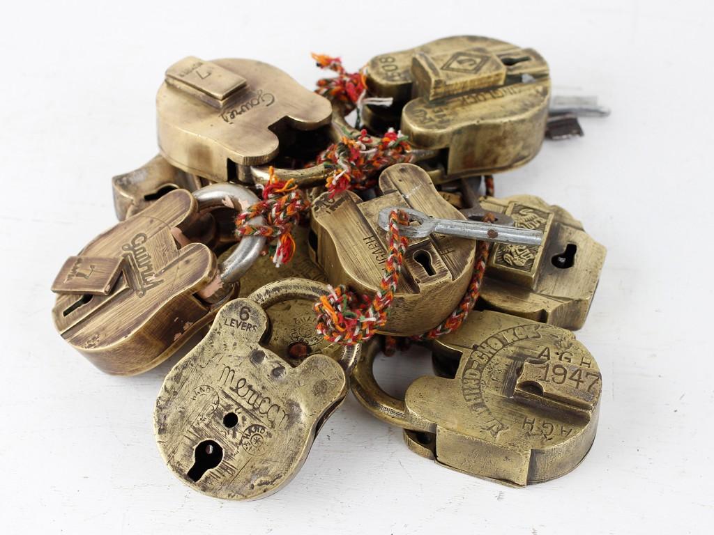 old brass padlocks