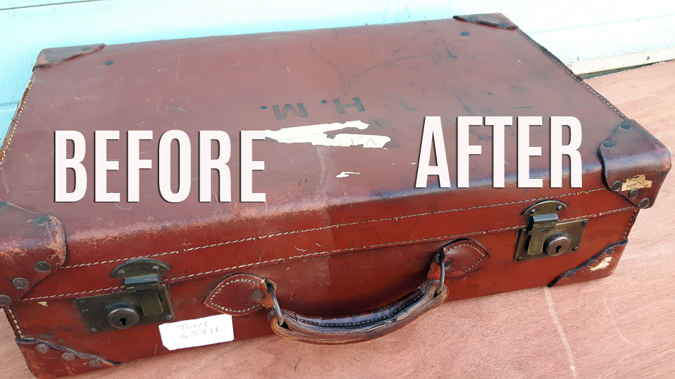 Before and after treating the leather