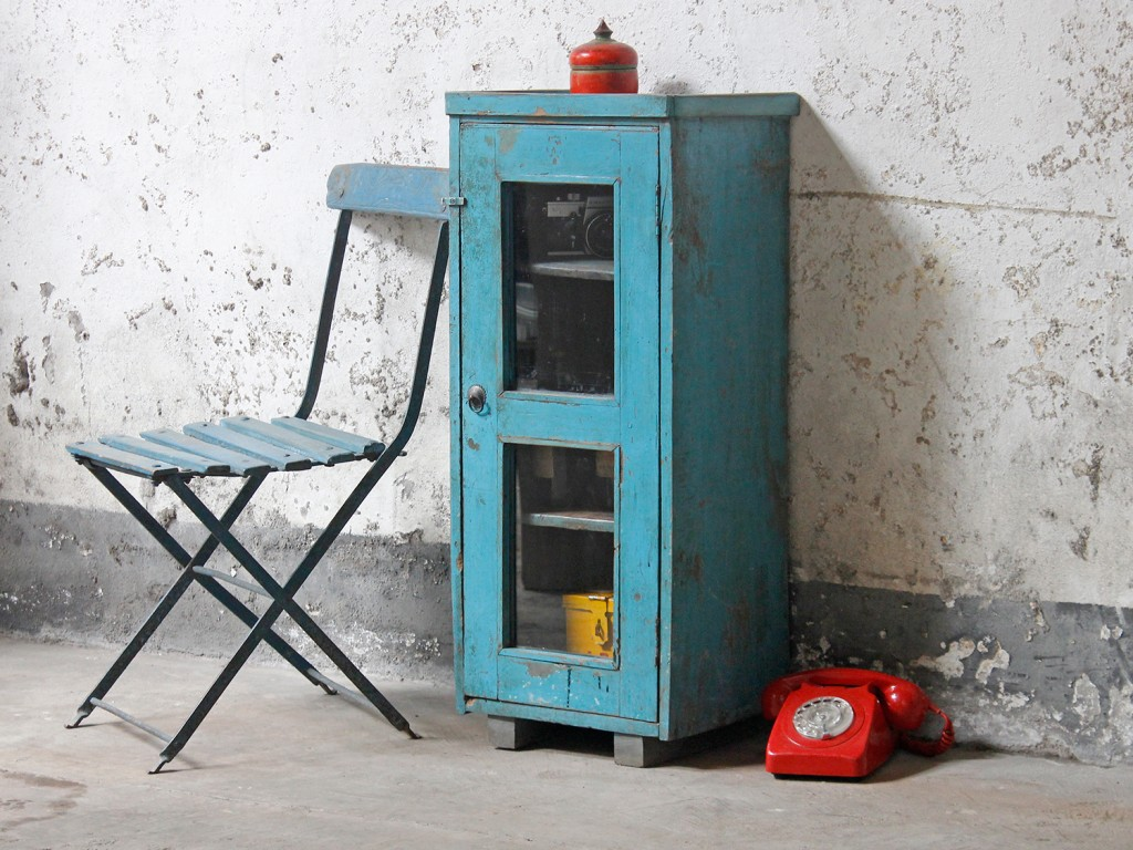 blue shabby chic cabinet from Scaramanga's vintage furniture collection