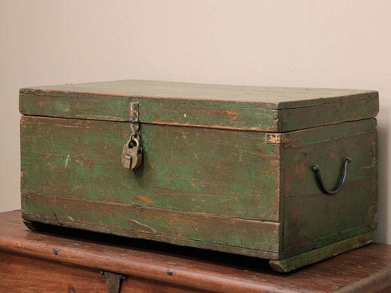 Vintage Green Wooden Chest