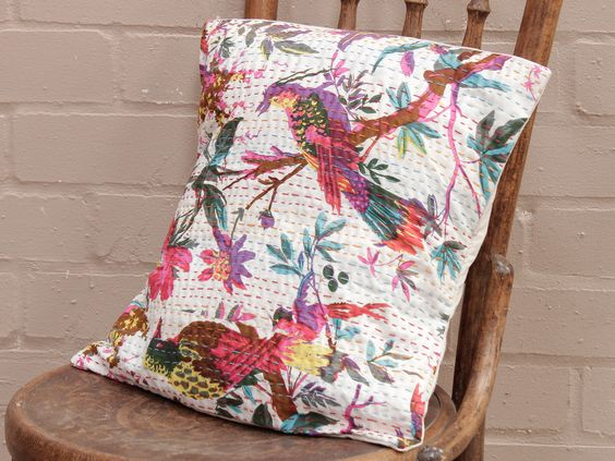Floral Handstitched Cushion Cover