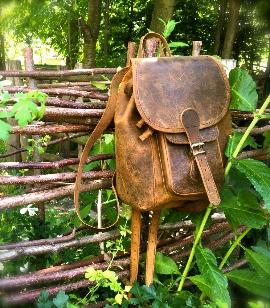 Boho Leather Mini Backpack