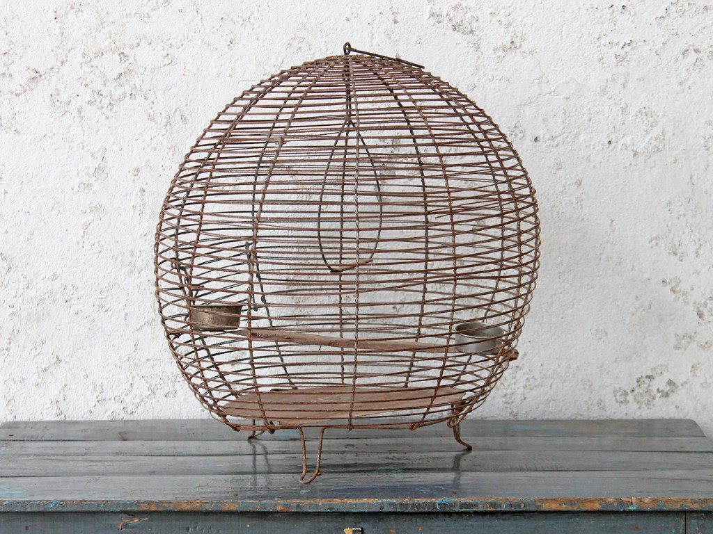Vintage bird cage made from wire