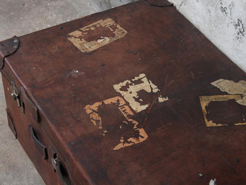 An antique travel trunk