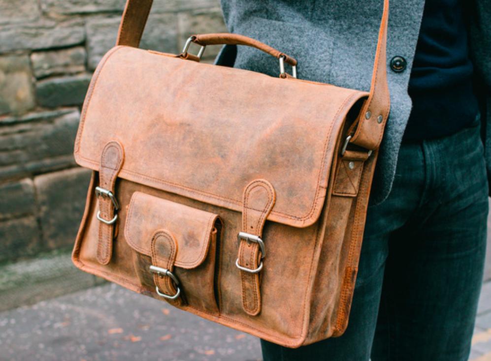 Leather satchel 15''