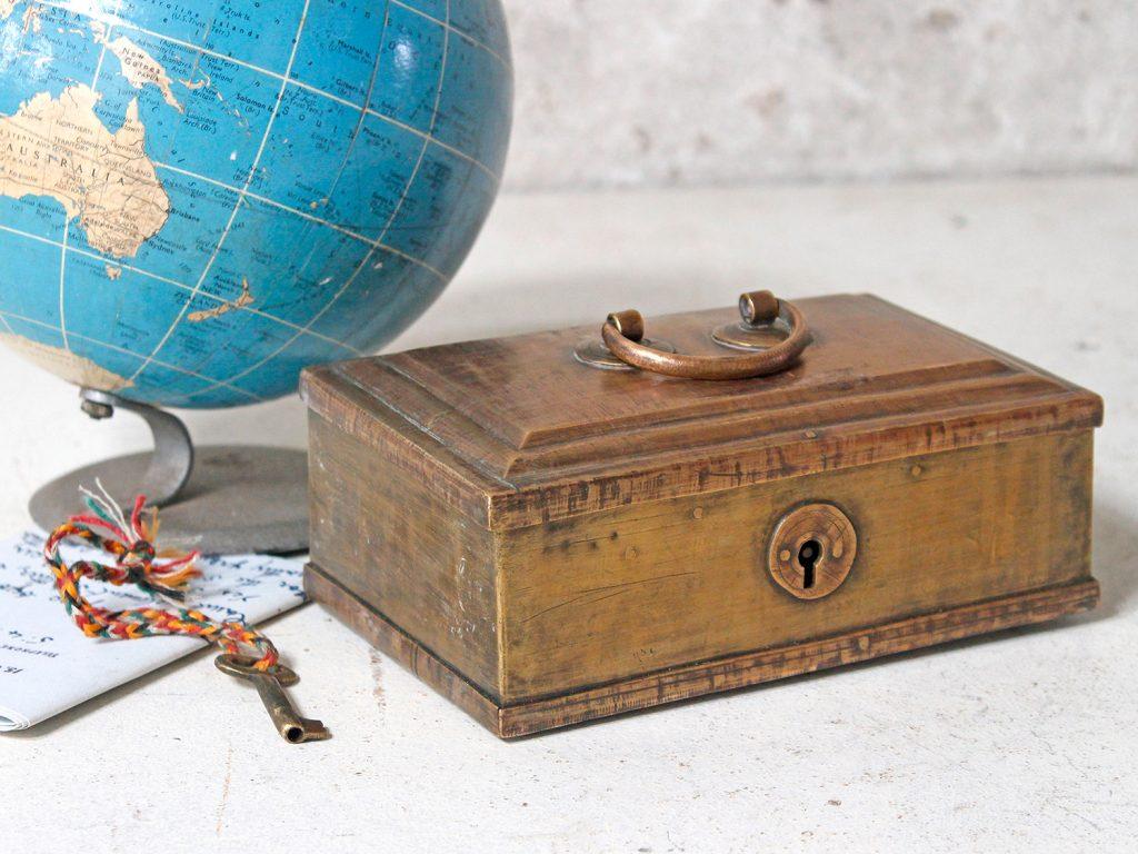 Vintage brass jewellery box