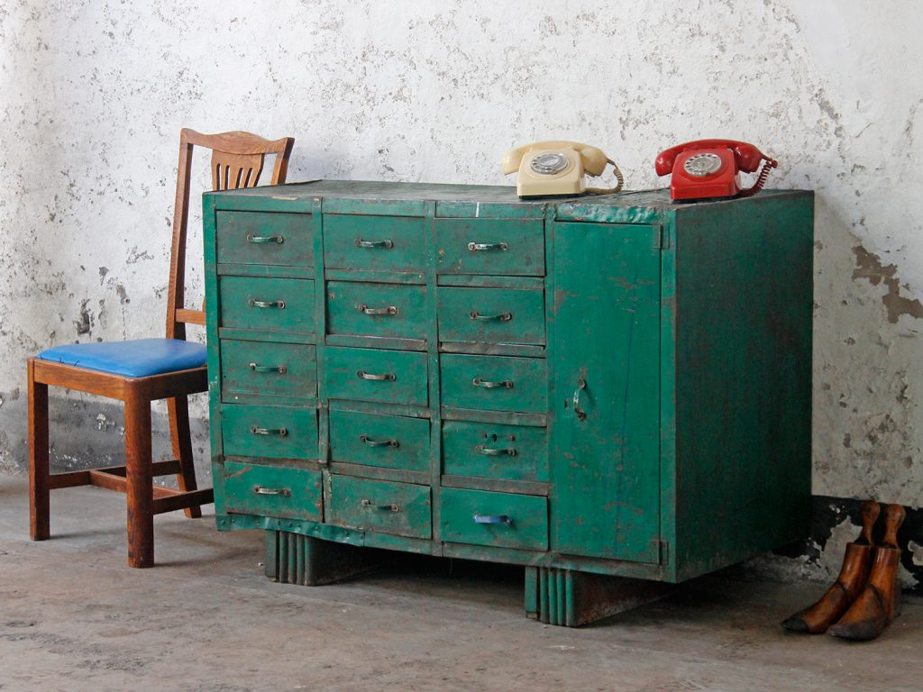 vintage green iron workshop chest of drawers