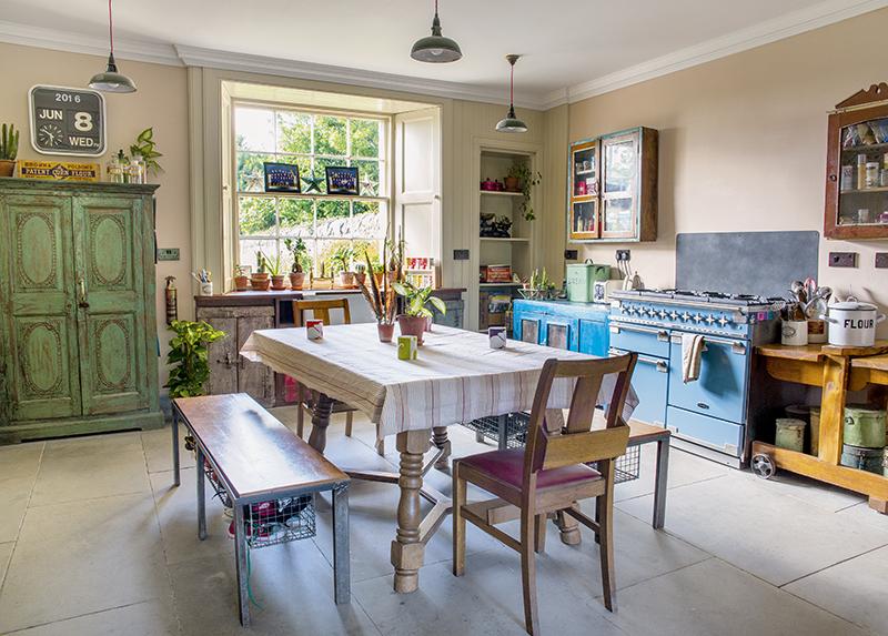 free standing kitchen cupboards in this vintage kitchen