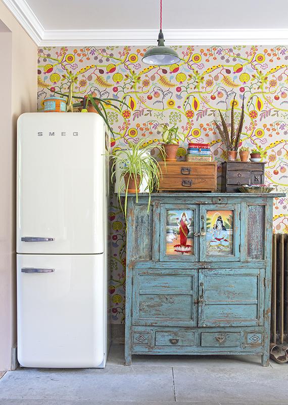 vintgae wardrobes in a free standing kitchen