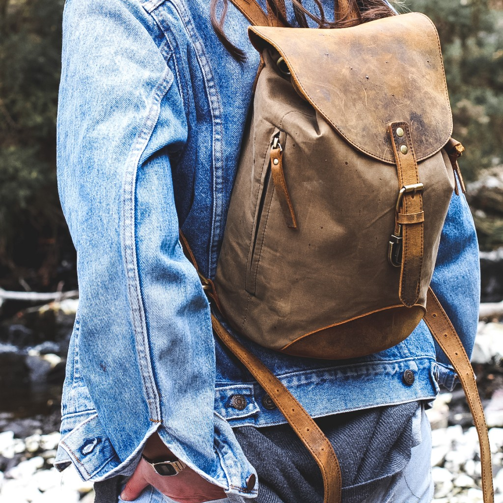 canvas and leather backpack by scaramanga