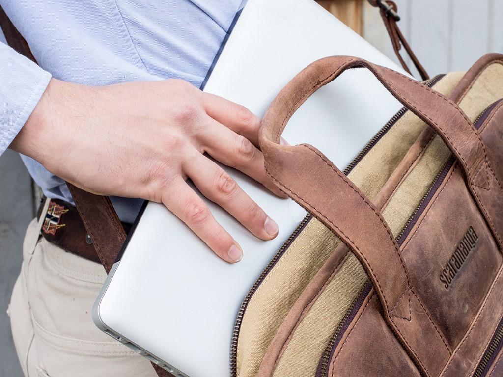 Leather and Canvas Laptop Briefcase - FLBG14018-alex-3