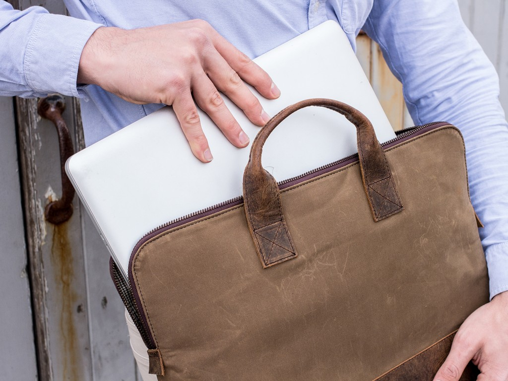 canvas and leather laptop bag