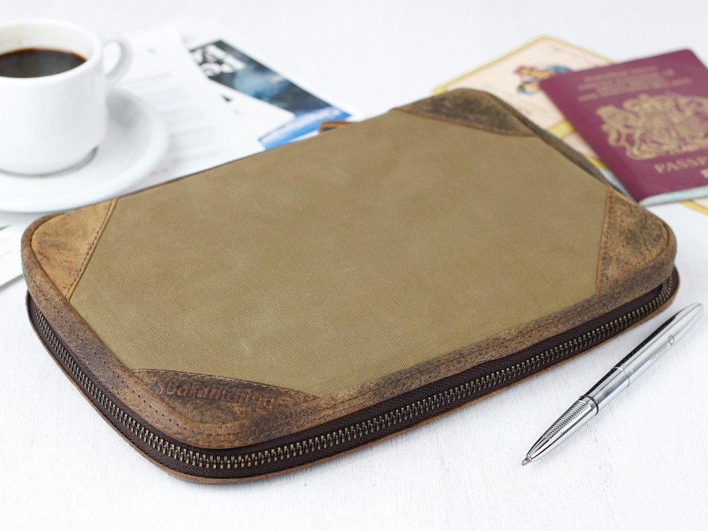 leather and canvas family travel wallet