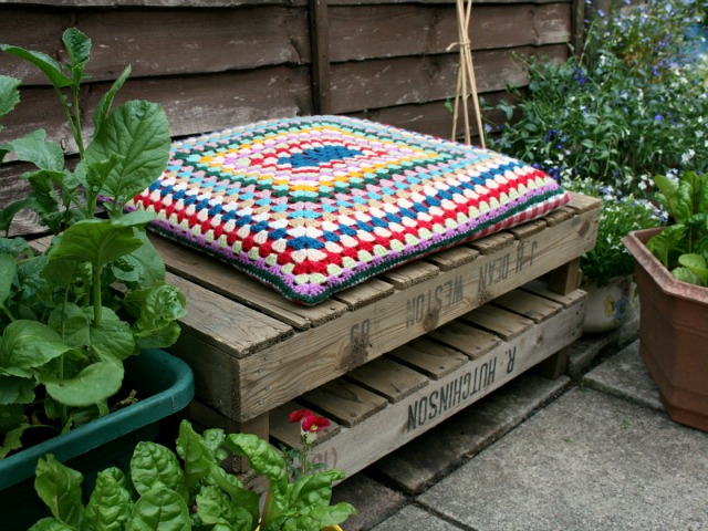 Vintage apple crates as a seating area