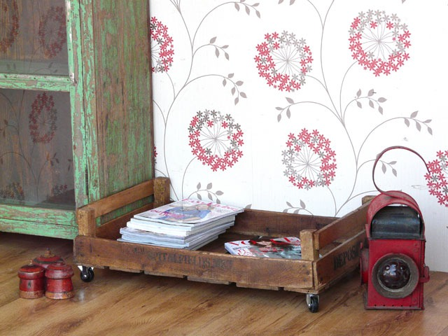 Vintage apple crates as magazine storage