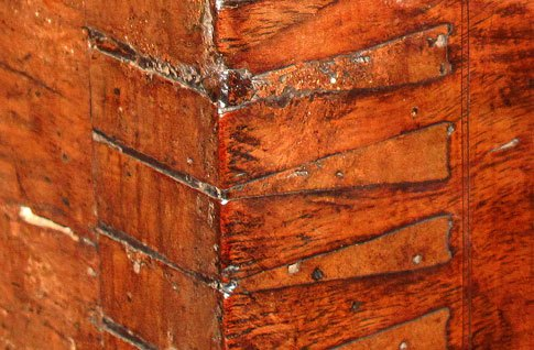 A dovetailed corner of a chest