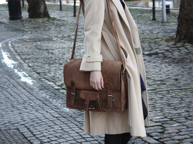 Fritha with her large wide leather satchel