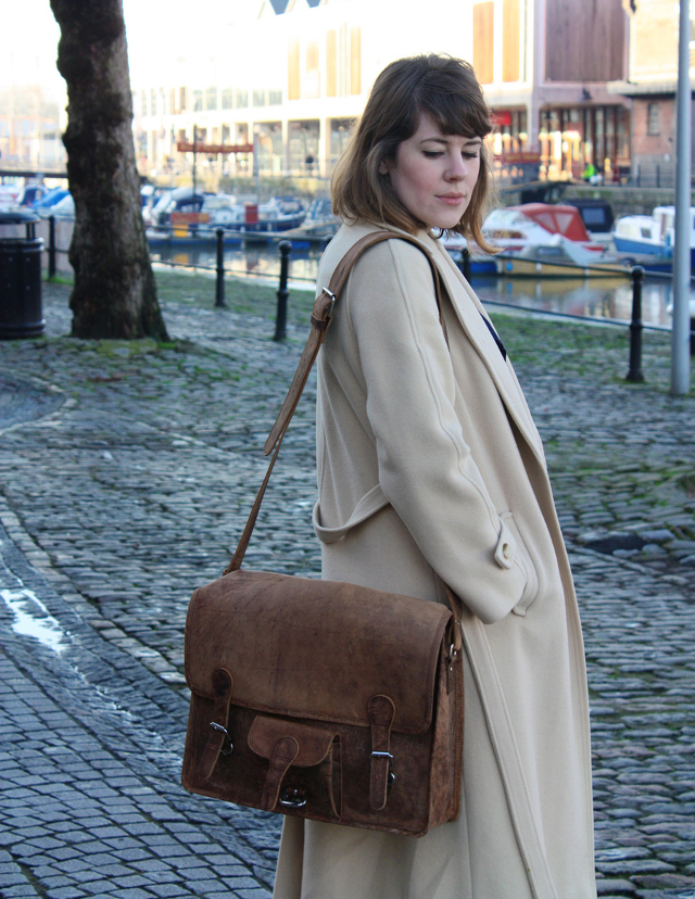 Fritha and her large wide leather satchel