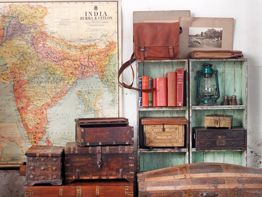 old school map and vintage furniture