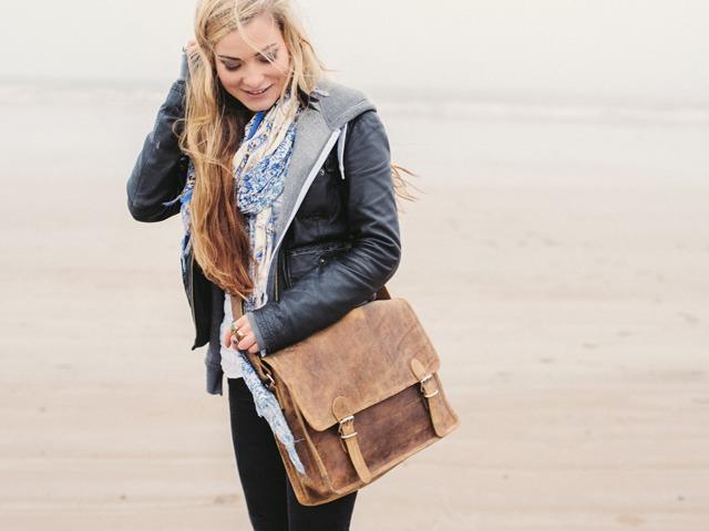 Medium Wide Leather Satchel, £75