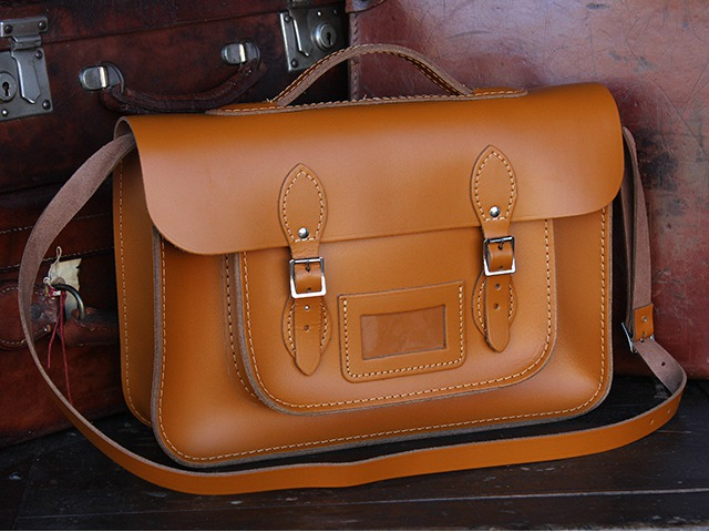 15 Inch London Tan Leather Satchel with Handle, £99