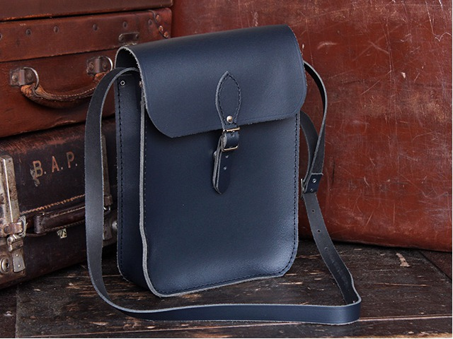 Navy Blue Leather iPad Satchel, £65