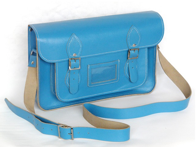 14.5 Inch Blue Leather Satchel, Was £76 Now £38