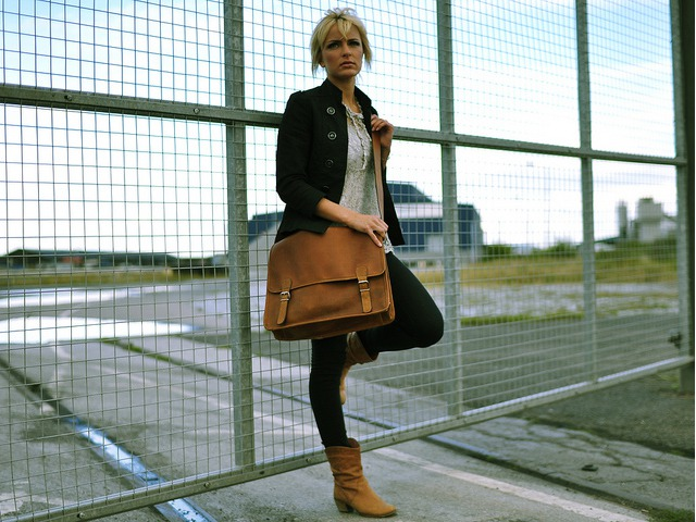 Large Wide Leather Satchel with Pocket, £80