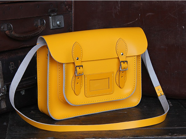 Yellow Leather 13 Inch Classic Leather Satchel, £80