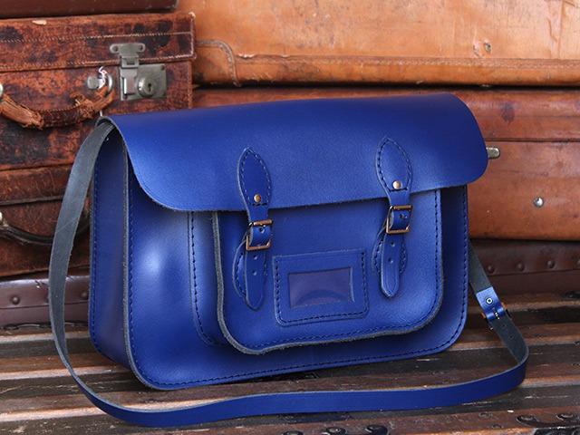 Cobalt Blue Leather Satchel 15 Inch, £90