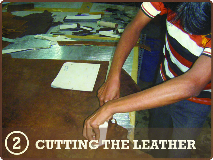 Leather Satchels - Cutting the leather