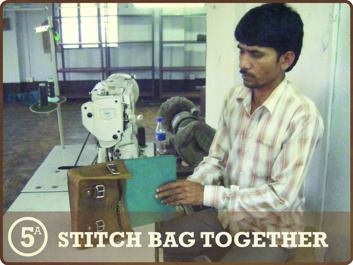 Leather Satchel - stitch the pieces together