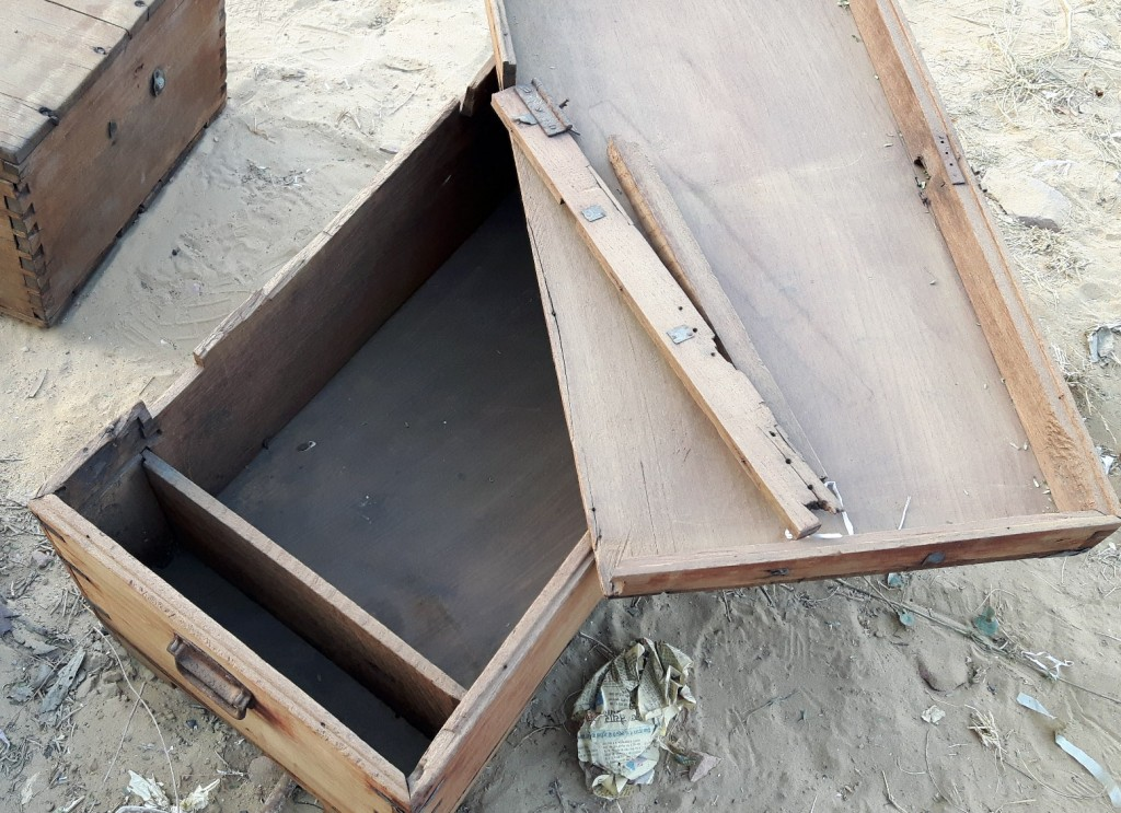 Typically the lid has broken aay from the chest. Substantial work is needed to reinforce the back so the hinges can be secured to the back of the chest