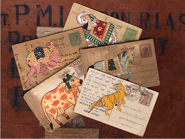 Hand Painted Vintage Indian Postcard - Set of Five, £15