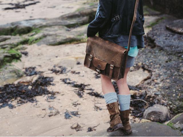 Medium Wide Vintage Leather Satchel with Front Pocket, £58.50
