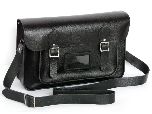 Large 14.5 Inch Black Leather Satchel, £76