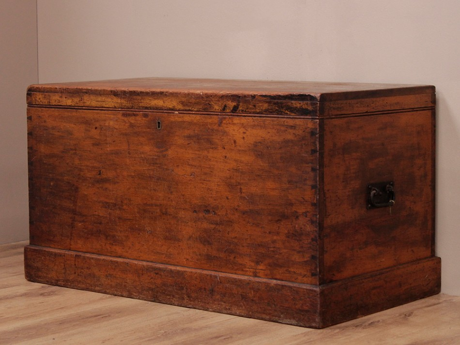 Antique Pine Chest used by emmigrants travelling to North America and Canada