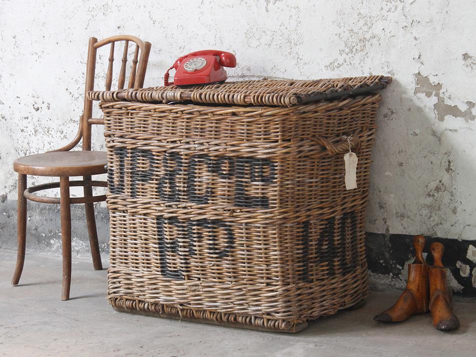Vintage laundry basket dressing up box