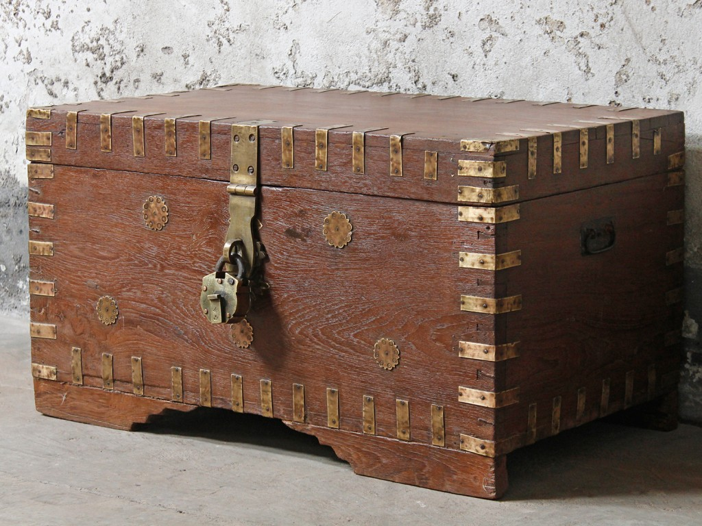 Antique teak storage chest from south east India
