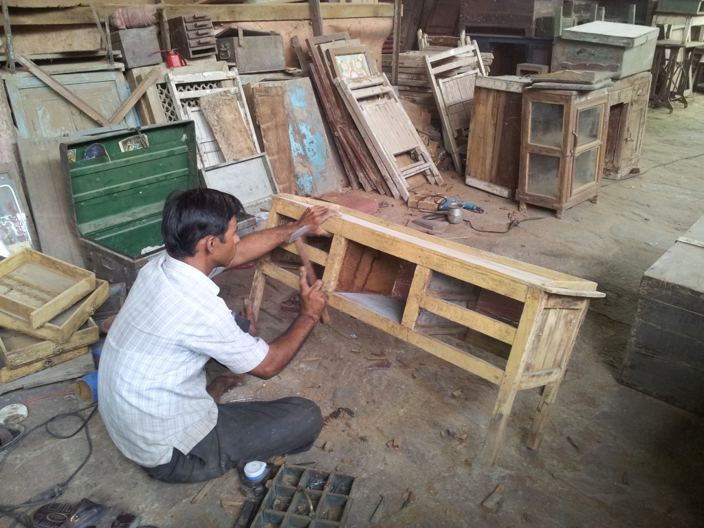 We bought this merchant's desk and returned a few days later to see the restoration progress.