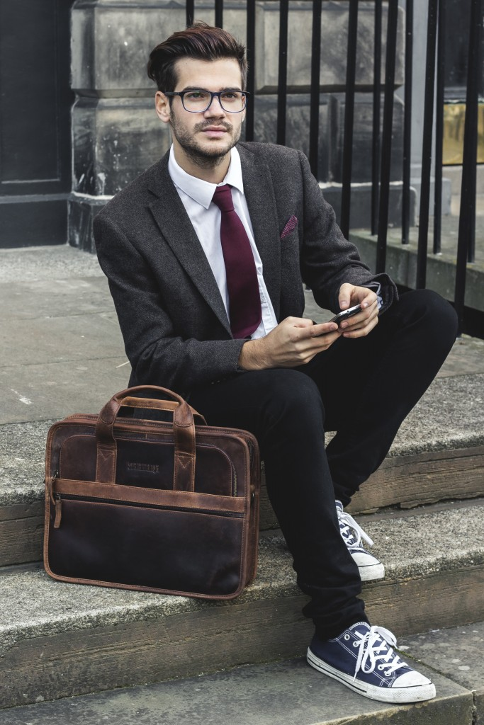 Leather Briefcase for men by scaramanga