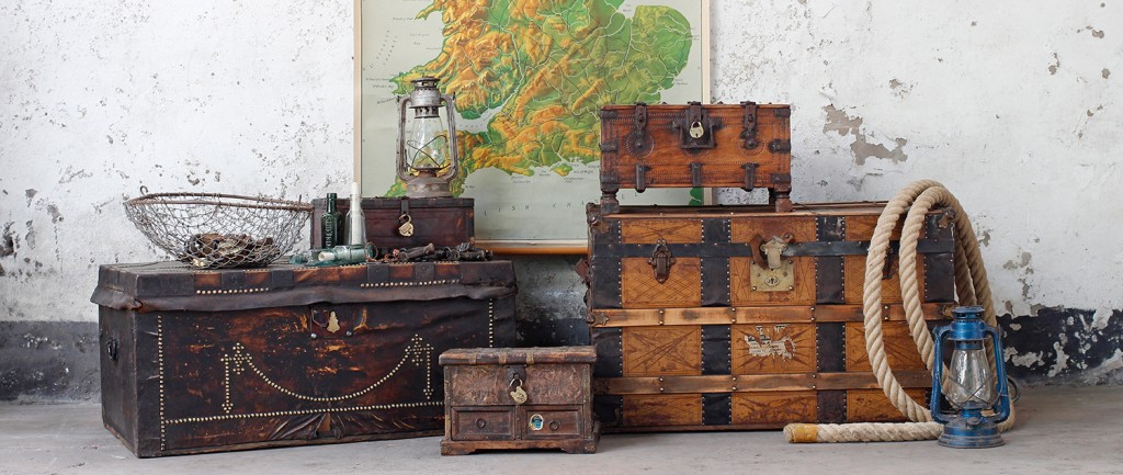antique travel trunks - as a coffee table with storage
