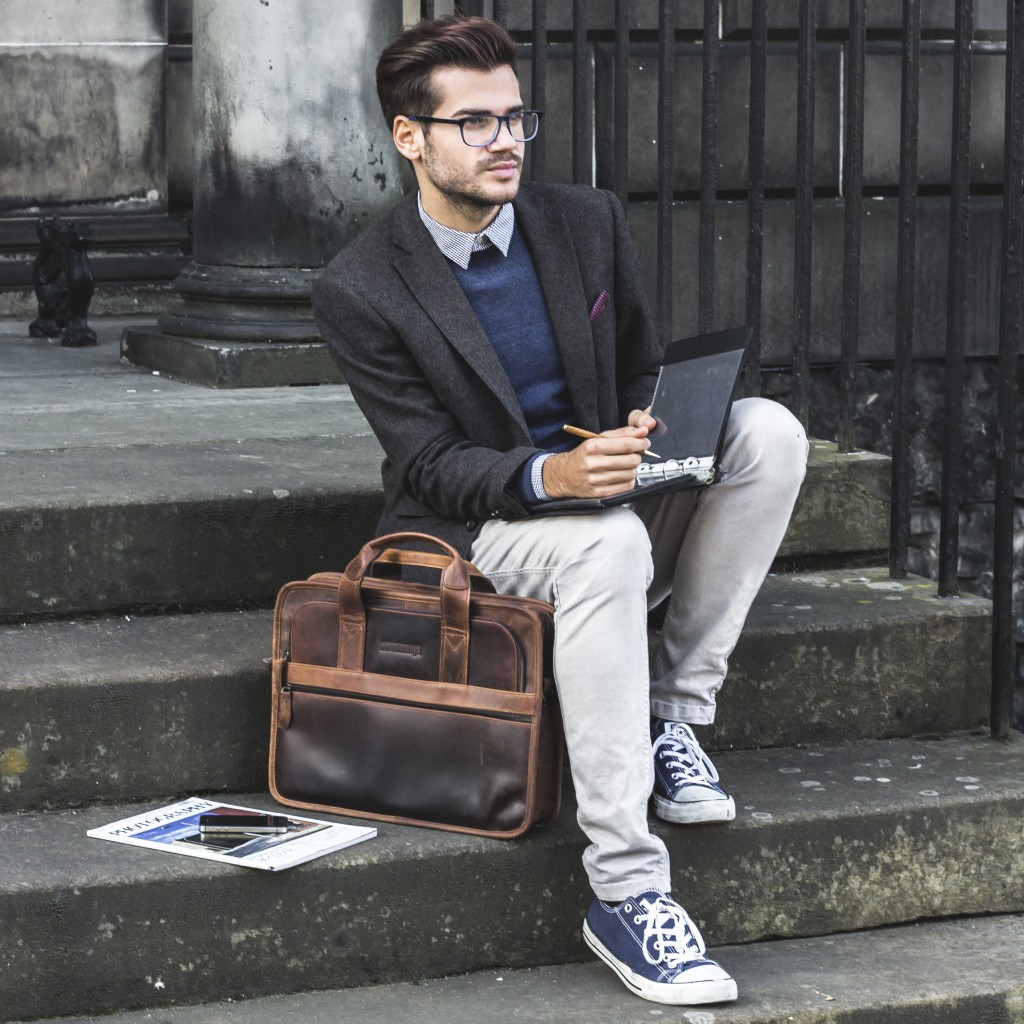 Brown Leather Briefcase by scaramanga