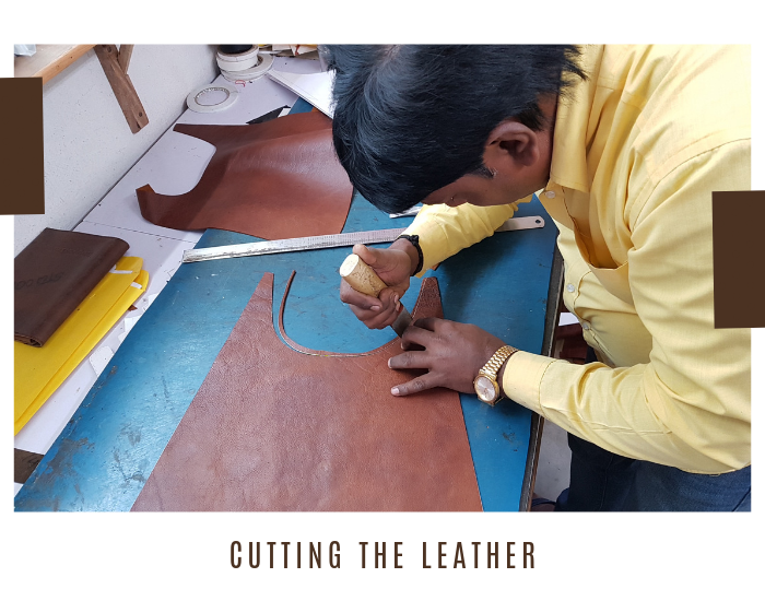 Trimming excess leather from Scaramanga bag
